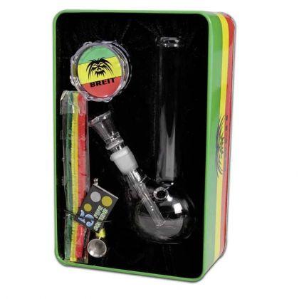 Bong mini Kit Breit Rasta cu Grinder si Pipa in cutie